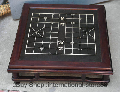 "23.2"" Old Chinese Redwood Carving Dynasty Palace Chess Weiqi 2 Face Chessboard"