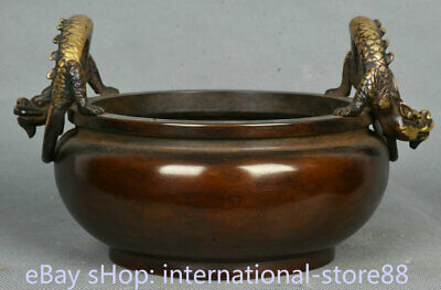 """6.8"""" Xuande Marked Old China Red Copper Gilt Palace 2 Dragon Handle Censer"""