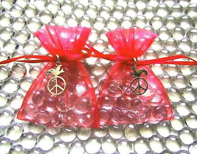 2 x Clear Shimmer Glass Friendship Stones + Peace Dove Charm + Red Organza Bag