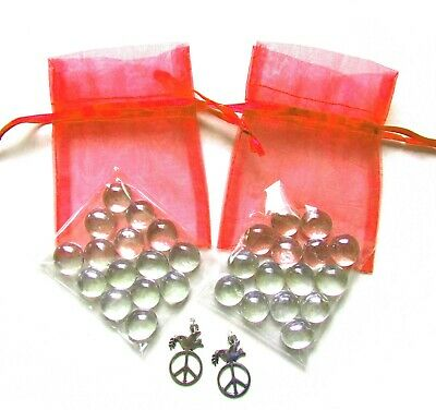 Set of 2 Shimmer Glass Friendship Stones + Peace Dove Charm + Red Organza Bag