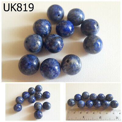 Lot 11 Ancient Style Lapis w/ Pyrite Carved Egyptian Ball Beads #UK819a