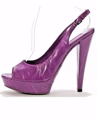 031cee31d22 NEW YVES SAINT LAURENT Purple Eel Skin Open Toe Slingback Platform Heel Sz  38.5