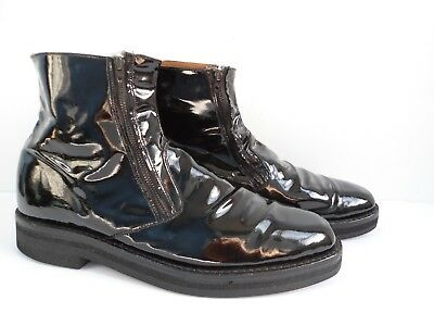 Rare Marquis Black Patent Leather Double Side Zipper Boots Size 11.5 Made in USA