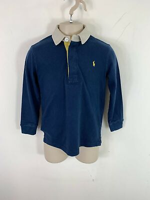 Kids Ralph Lauren Navy Blue Polo Long Sleeved Polo T Shirt Size 4Yrs Old - Boys