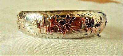 Vintage Joseph Smith & Sons Birmingham Sterling Silver Rose Gold Bangle Bracelet