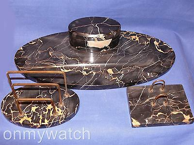 REGAL Black MARBLE INKWELL Desk SET Antique Italian 3-Pc Nero PORTORO Italy Nice