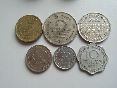 Sri Lanka of 6 coins 5+2+1 rupees 50+25+10 cents 1978-1986
