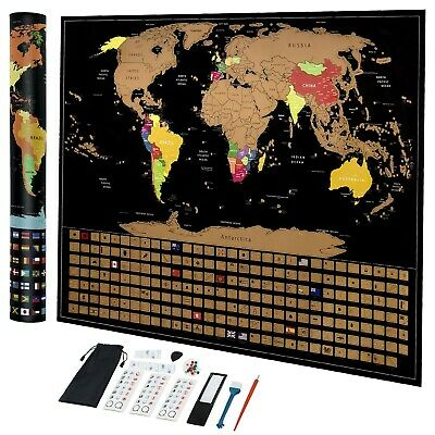 Scratch Off Map Of The World Travel Stickers States Country Flags Magnifier Gift
