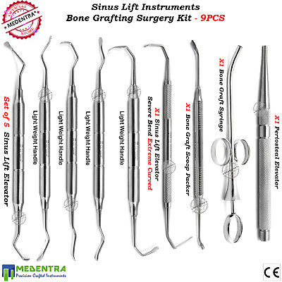 Sinus Lift Elevators Periosteal Oral Surgery Bone Graft Syringe Spoon Plugger X9