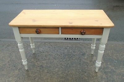"Antique Pine 2 Drawer Table / Desk In F&B ""Old White""   Delivery Available"