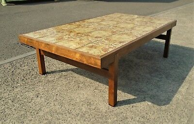 Large Vintage Danish Rosewood Tiled Top Coffee Table     Delivery Available