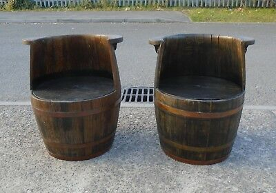 Pair Of Antique Oak Coopered Barrel Chairs     Delivery Available
