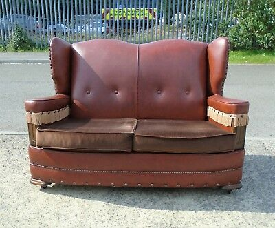 Art Deco Brown Vinyl Wing Back 2 Seater Sofa    Delivery Available