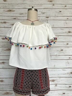 0e9894c1207 FOREVER 21 Bardot Pom Pom Trim Off Shoulder Top White Multicolor Pom-Poms  Size L