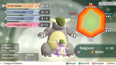 Pokemon Let's Go Kangaskhan Mega definitive form Custom/lvl/6IV/AVs