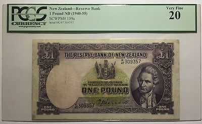 New Zealand 1940 Hanna £1 One Pound Banknote Graded PCGS VF20
