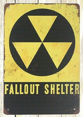 US SELLER- Fallout Shelter Nuclear Radiation Warning tin metal sign wall art