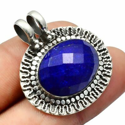 Faceted-Lapis Lazuli Solid 925 Sterling Silver Pendant Jewelry SP-8919