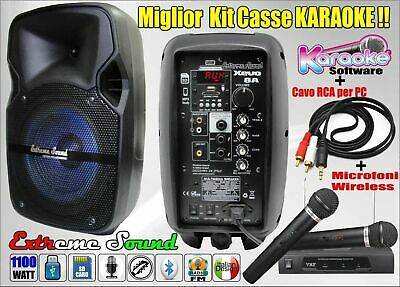 COPPIA CASSE KARAOKE  BLUETOOTH radio FM + RADIOMICROFONI PC SOFTWARE XEVO-8 KIT