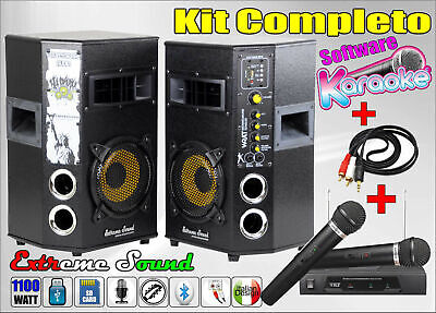 COPPIA CASSE x KARAOKE  con BLUETOOTH - RADIO 2 Microfoni Wireless + Cavo PC