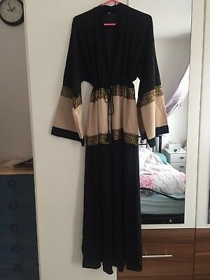 Dubai Style Womens Abaya Size 58 WITH Adjustable Belt AND HIJAB BRAND NEW