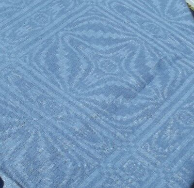 Antique French Cloth Blue Damask Linen Woad Fabric textile tablecloth
