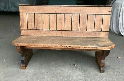 Antique Pitch Pine Kitchen Dining Bench, Pew, Settle Seating