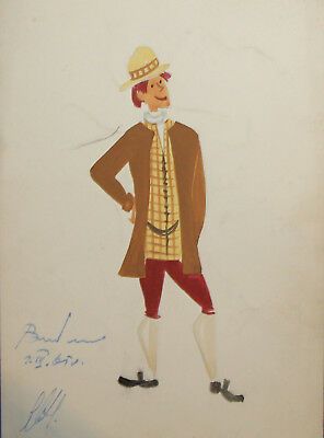 1965 theatre costume project gouache painting portrait
