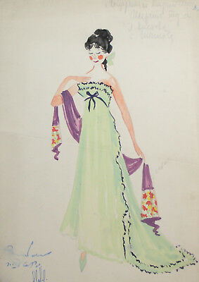 1965 theatre costume project gouache painting signed
