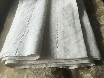 Vintage French Metis Linen sheet Ladder Edge Fab Quality-Unused-Double-2m80x1m80