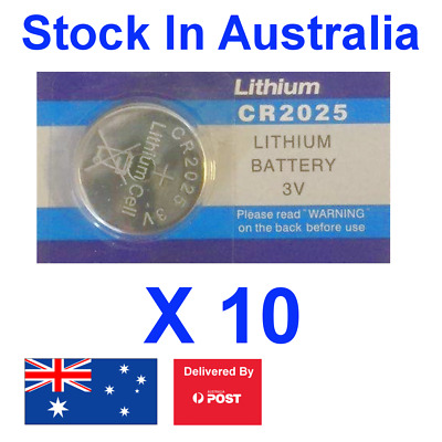 10 X CR2025 Lithium 3V Battery Button Cell Batteries Ideal for LED Remotes, Toys