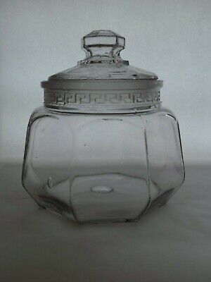 Antique Very Rare EAPG US Glass Sheraton Greek Key Pattern Apothecary Jar / Dish