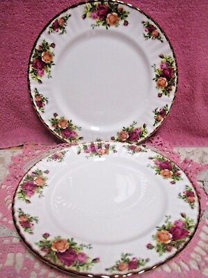 "Royal Albert Old Country Roses Salad Plates 8 1/8"" Red Yellow Set 2 England"
