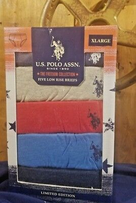 US Polo Assn 5 Low Rise Briefs XL Blue Gray Red Freedom Collection SHIPS FREE