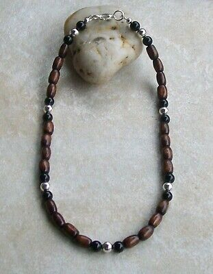 Mens Beaded Necklace Brown Wood, Black Onyx  with Tibetan Silver Beads