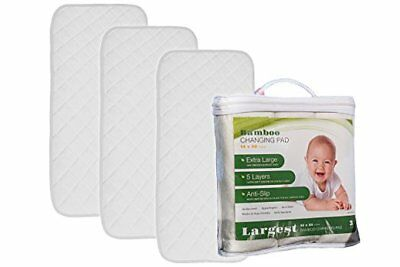 "Bamboo Changing Pad Liner (3-Pack) - Extra Large 35"" X 14"" - Five Thick Layers"