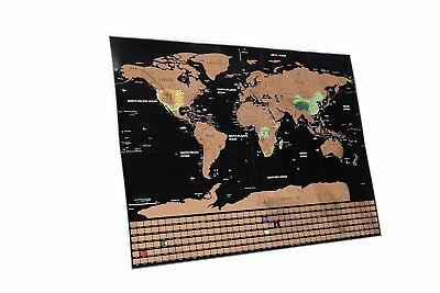 Scratch Off World Cartographic Map Poster|Glossy Finish Laminated Global Map