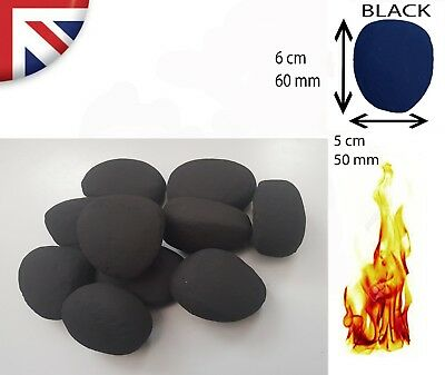 10/20/30 Black Stones/Pebbles For Gas Fires - Highest Quality Made In UK