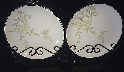 """2 BARKER BROTHERS Japan Porcelain China 7 1/2"""" Plates w/ Flowers 63-293P"""