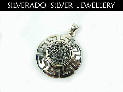 Sterling Silver 925 Ancient Greek Minoan Phaistos Disc Pendant 26 mm