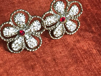 clip on vintage earrings real ruby & crystal flower  gioiello di firenze  21.6g