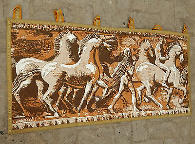 Vintage French Print Beautiful Horses Scene Tapestry 120X58cm (A512)