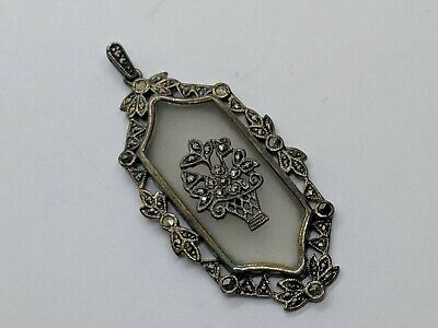 """Sterling Silver Antique Style Pendant Frosted Clear Glass w/ Flower Basket 1.98"""""""