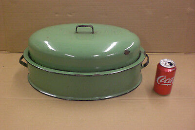 Vintage Columbian Green Porcelain Enamel Roasting Pan Antique Kitchen CookWear