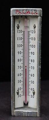 """Large Vintage Industrial Thermometer by PALMER USA 8"""" x 2 1/4"""" - Red Reading"""