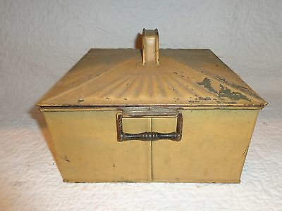 Antique Tin Toleware Storage Container with Side Handles & Lid