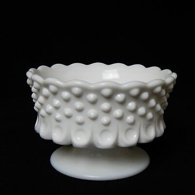"""Vintage White Milk Glass Hobnail Wide Pillar Taper Footed Candle Holder 2.75"""""""