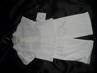 Boys 3 Piece Outfit Designer Little Darlings Cream Linen.12Mths Rrp £70.80%off