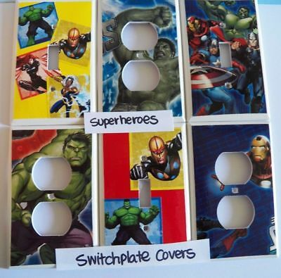 SUPERHEROES ~ Switchplate Cover - Light Switch Electrical Outlet Hand Decorated