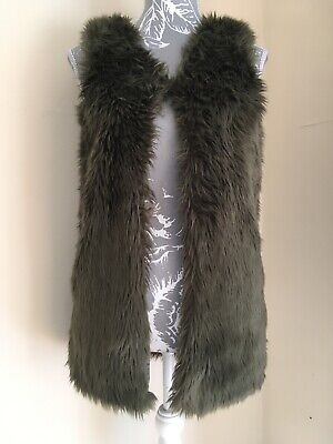 Girls Khaki Green Faux Fur Fluffy Gilet Body Warmer Age 12 Years By Next